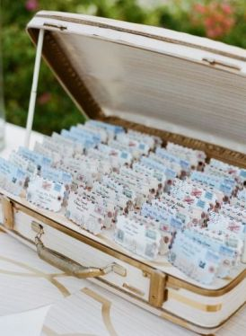 Travel themed escort card display